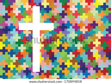 Christianity cross religion concept mosaic design background illustration vector - stock vector