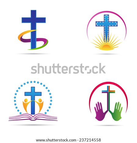 Christianity cross vector design represents church logos, Christianity organizations, signs and symbols. - stock vector