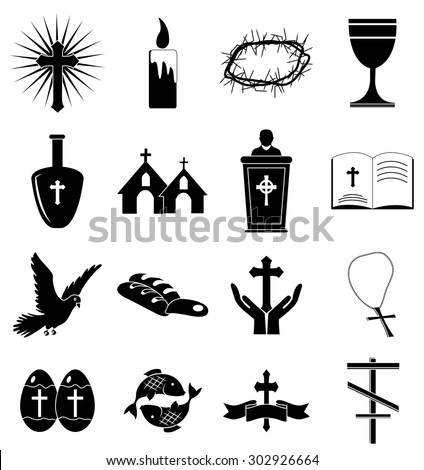 Christianity icons set - stock vector