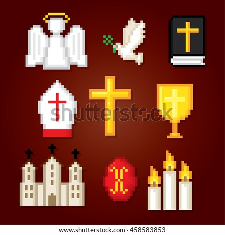Christianity icons set. Pixel art. Old school computer graphic style. Games elements.