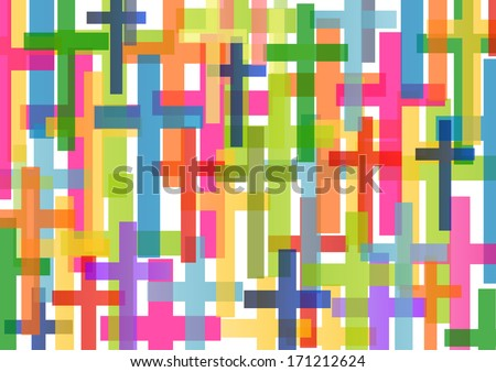 Christianity religion cross mosaic concept abstract background vector illustration - stock vector