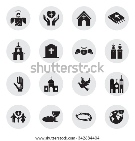 Christianity religion icon set  - stock vector