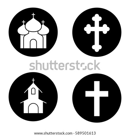 christianity religion icons set catholic cathedral stock vector