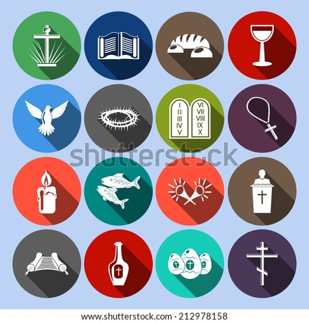 Christianity traditional religious symbols flat icons set with cross bible goblet isolated vector illustration - stock vector
