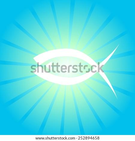 Christians glow fish symbol. Vector - stock vector