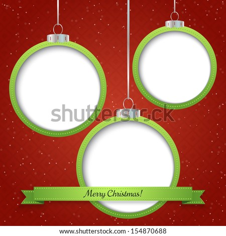Christmas abstract background with three ornament balls . Vector illustration - stock vector