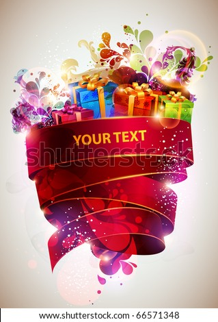 Christmas abstract poster - stock vector