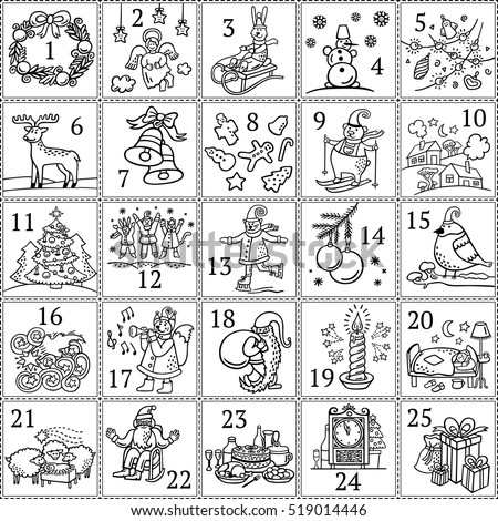 Christmas advent calendar december colouring book stock for Free advent calendar coloring pages
