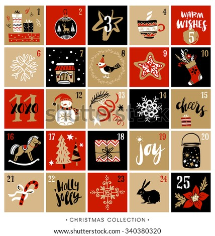 Christmas advent calendar. Hand drawn design elements and calligraphy. Handwritten modern brush lettering. - stock vector