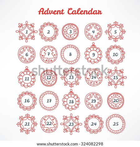 Christmas Advent Calendar with red contour frames - stock vector