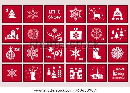 Christmas Advent Calendar Reindeer Mistletoe Treesnowflake Stock