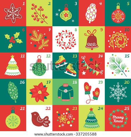 Christmas Advent Calendar with star, cookie, ball, cone, berries, bauble, poinsettia, fir branches, wreath, bell, swirl, fir tree, skates, garland, sweater, mittens, snowflake, bird and confetti - stock vector