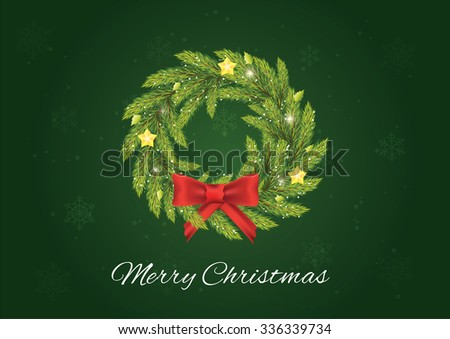 Christmas advent coronal. Christmas postcard. - stock vector