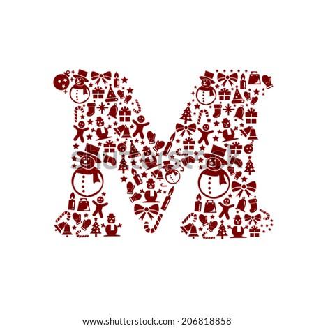 Christmas alphabet M on White Background - stock vector
