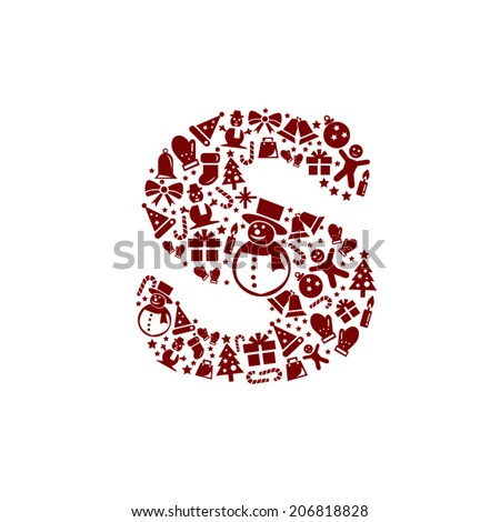 Christmas alphabet S on White Background - stock vector