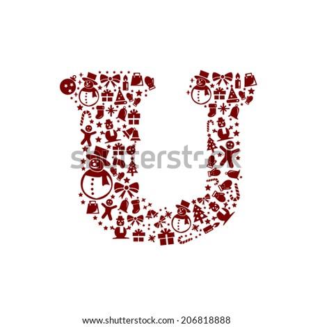 Christmas alphabet U on White Background - stock vector