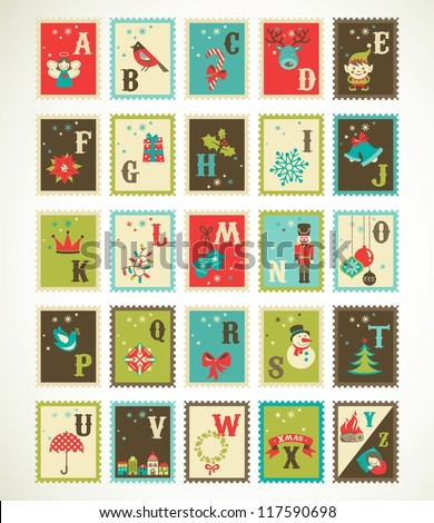 Christmas alphabet with cute stamp xmas icons and illustrations - stock vector