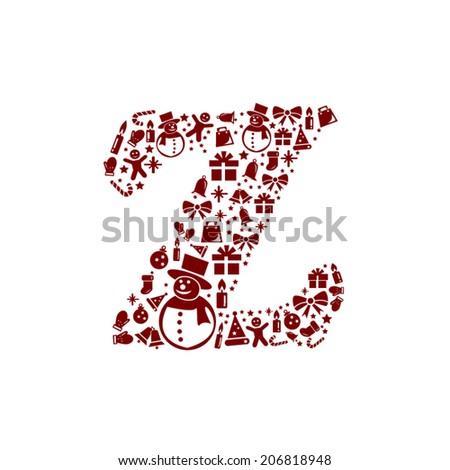 Christmas alphabet Z on White Background - stock vector