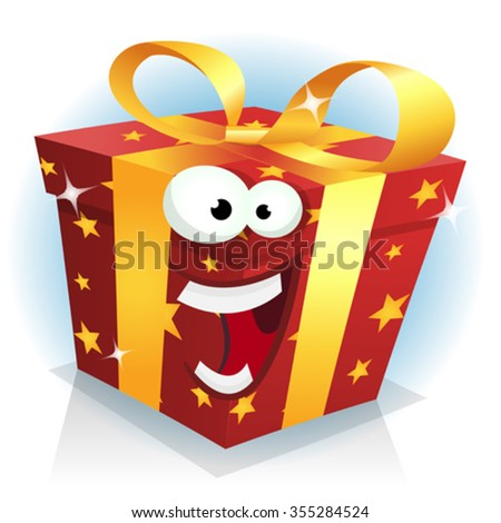 Christmas And Birthday Gift Box Character/ Illustration of a cartoon funny christmas, birthday and anniversary gift character happy and cheerful, for sales - stock vector