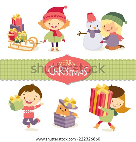 christmas and children - stock vector