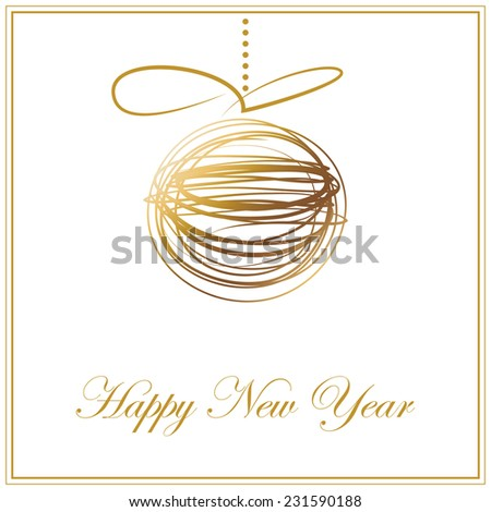 Christmas and Happy New year background. Holiday card with gold abstract ball.Christmas and New year frame.Vector illustration - stock vector