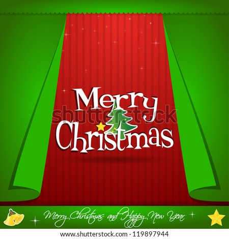 Christmas and Happy New Year Greeting Card. Vector illustration letter - stock vector