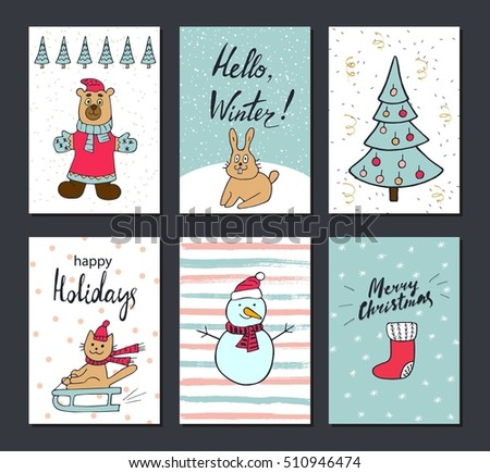 Christmas and Happy New Year greeting cards with calligraphy. Cute Hand drawn holiday cards and invitations. Handwritten modern lettering