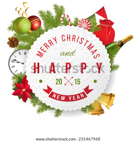 Christmas and happy new year 2015 label - stock vector