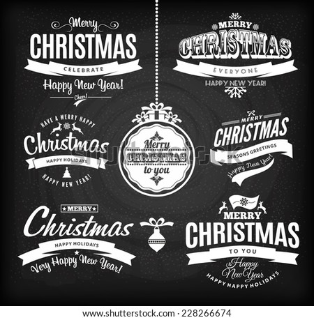 Christmas and happy new year lettering.Type composition. Chalk board. - stock vector