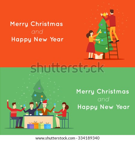 Christmas and Happy New Year man and woman decorating a Christmas tree, feast. 2 web banners and promotional materials flat design. - stock vector