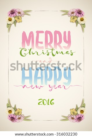 Christmas and happy new year message board with colorful vintage hand drawn flowers. - stock vector