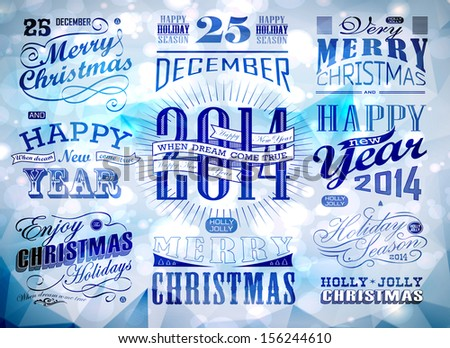 Christmas and Happy New Year typography/ calligraphic elements. Christmas decoration - stock vector
