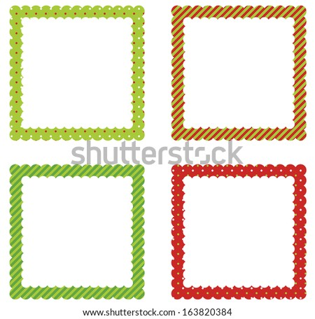 Christmas And Holiday Scalloped Edge Frame Set - stock vector