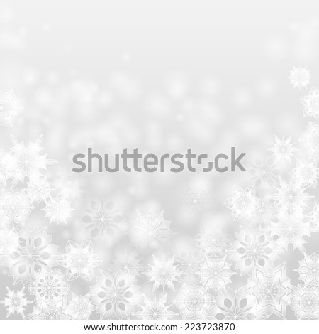 Christmas and New Year abstract background with snowflakes - stock vector