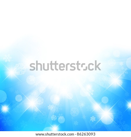 Christmas and New Year abstract background with stars and snowflakes, copyspace - stock vector