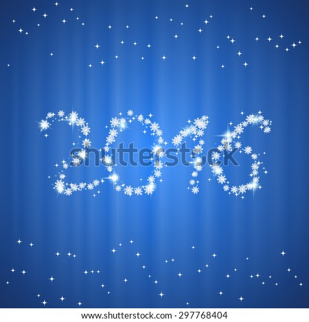 Christmas and New Year 2016 abstract blurry vector background with stars and snowflakes - stock vector