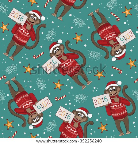 Christmas and New Year background. Seamless pattern with funny monkey. Symbol of the New Year 2016. EPS 8 - stock vector