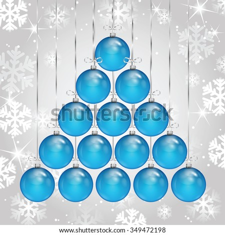 Christmas and New Year background with Christmas decorations and snowflakes - stock vector
