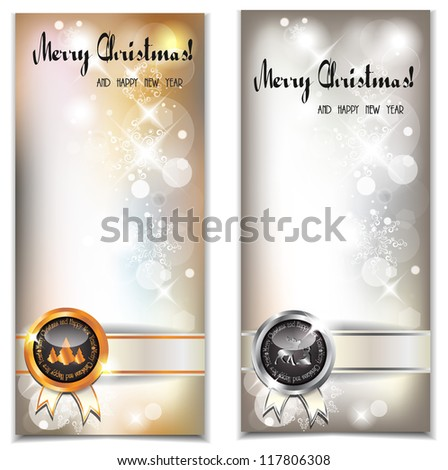 Christmas and New year banners with stamps - stock vector