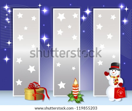 Christmas and new year billboards with snowman; candle and gift. Vector illustration.