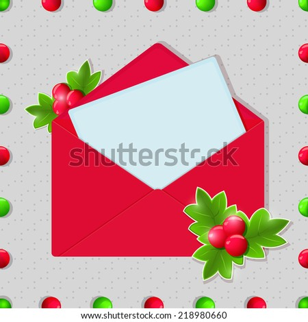 Christmas and New Year Blank Card in Red Envelope - stock vector