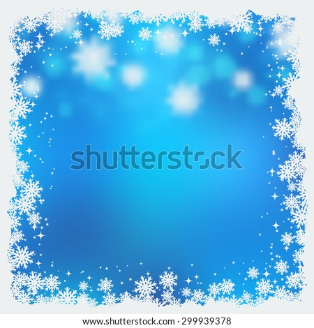 Christmas and New Year blurry blue vector background with stars and snowflakes - stock vector