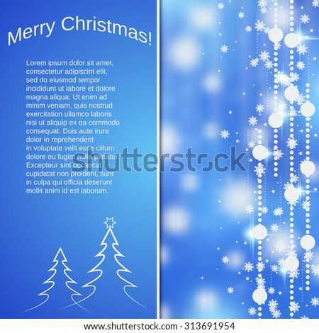 Christmas and New Year blurry vector background. Greeting or invitation card, booklet, poster template - stock vector