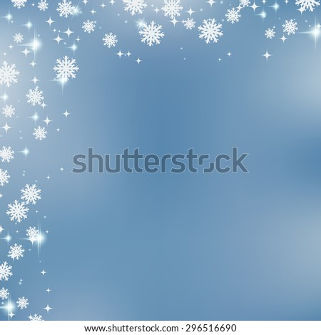 Christmas and New Year blurry vector background with snowflakes and stars. Greeting or invitation card template. - stock vector