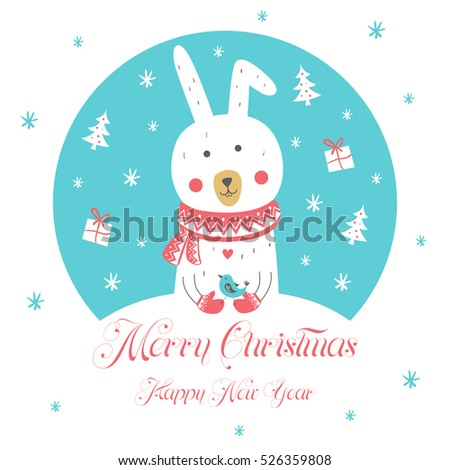 Christmas and New Year Card. Design Elements. Greeting card. Vector illustration