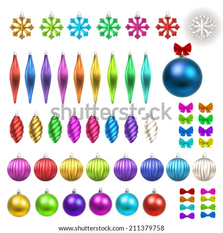 Christmas and New year card elements. Set of toy balls and ribbon bows - stock vector