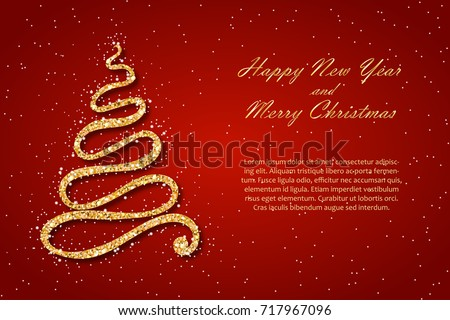 Christmas new year card template golden stock vector 717967096 christmas and new year card template golden fir wavy sparkling abstract christmas tree with m4hsunfo