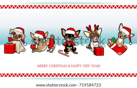Christmas and new year card with cute dogs. Dogs disguised in Santa Claus costume. Christmas design greeting card, invitation, poster, sticker.