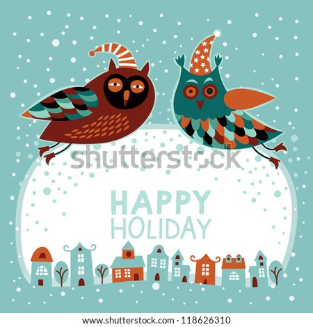 Christmas and New Year card with owls - stock vector