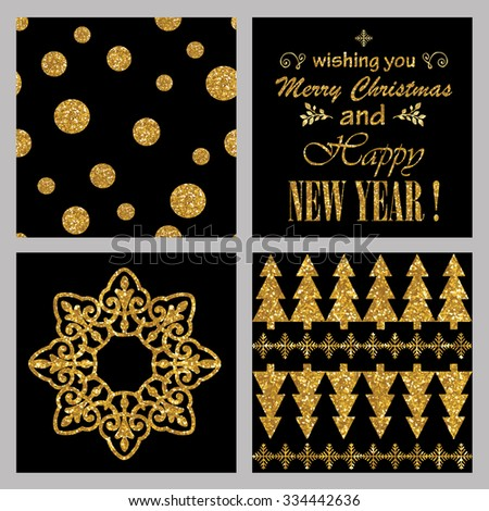 christmas and new year cards collection golden glitter invitation and celebration greeting set seamless
